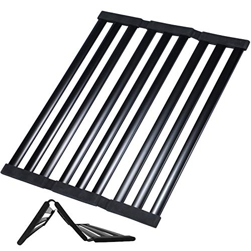 Multipurpose Roll up Dish Drying Rack Over Sink, Foldable Extra-Large 20.3 X 14 inch Magic Rolling Rack for Sink, Kitchen Dish Rack Over Sink Stainless Steel Drying Rack Dishes Black