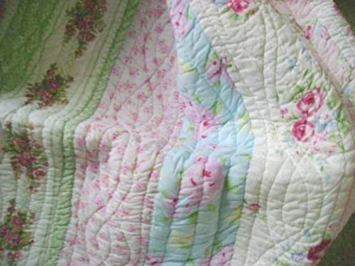 Full Queen Quilt Set Shabby Patchwork Vintage Pink Rose Chic -
