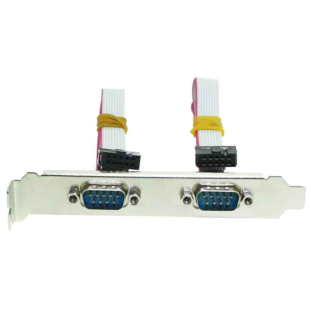 Busirde Dual 2 Ports Seriell 9 Pin DB9 RS232 Motherboard Com-Band-Verl/ängerungskabel Slot Bracket