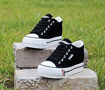 NGRDX&G Plataforma Blanca Zapatos Deportivos Zapatos De Mujer Zapatos De Lona Casuales Mujeres, Negro,
