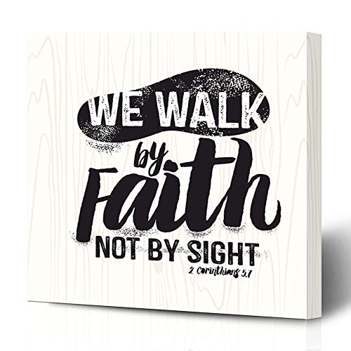 Ahawoso Canvas Print Wall Art 16x16 Inch Jesus Biblical Christian Lettering We Walk Faith Not Sight Corinthians Bible Scripture Psalm Modern Artwork Printing Home Decor Wrapp Gallery Painting (We Work By Faith Not By Sight)
