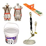 Madaco Roof Construction Fall Protection Full Body Industrial Safety Harness 30FT Rope Shock Pack Flat Use Anchor Kit ANSI OSHA Size M-XXL