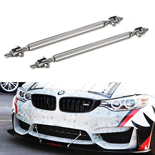 iJDMTOY (2) Universal Silver Aluminum Front Bumper Lip Splitter Strut Rod Support Bars, 8