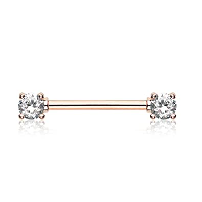 Amazoncom 14G Rose Gold Double Prong Gem Nipple Barbell Ring