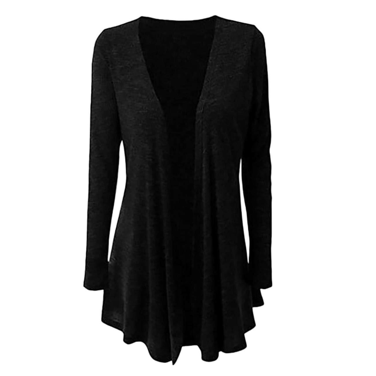 AMUSTER -Inverno Autunno Donna Elegante Cerimonia Fashion Casual Plus Size Manica Lunga Pure Color Fit Rivestimento Frontale Aperto Outwear