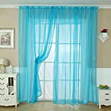 Changeshopping Solid Color Tulle Door Window Curtain Drape Panel Sheer Scarf Valance (Blue)