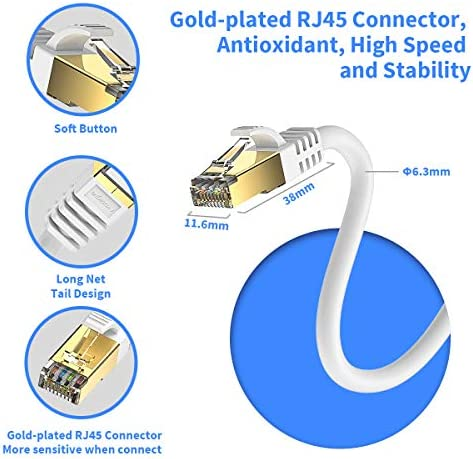 CAT8 Outdoor Ethernet Cable,50ft IQIAN 2000Mhz High Speed 40Gbps STP RJ45 Gigabit Network Cables with Gold Plated Connector Machine Room Compatible with Cat7//Cat5//Cat5e//Cat6//Cat6e