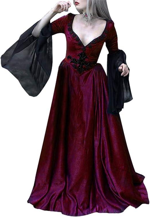 Poitwo Vestido Largo hasta el Suelo, Vintage, para Mujer, Medieval ...