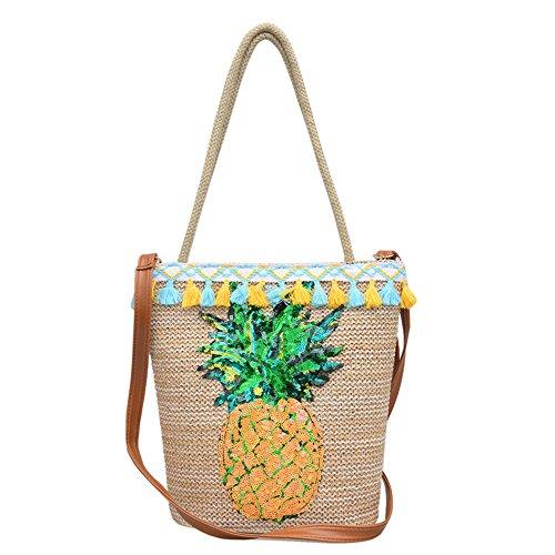 Mofeng Straw Bag Tote For Women Summer Beach Crossbody Shoulder Handbag Fashion Pineapple