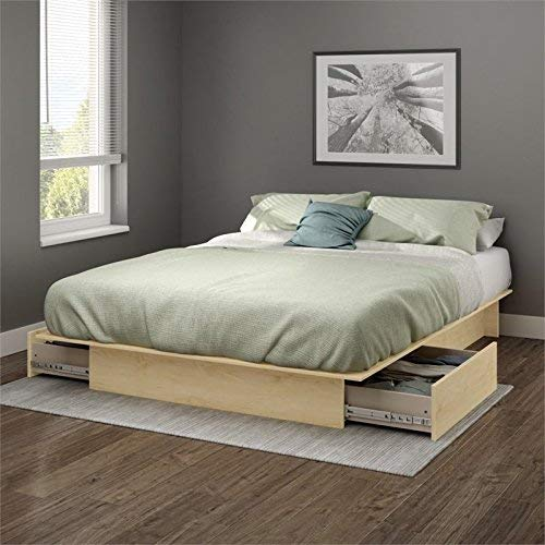 South Shore Gramercy Full/Queen Platform Bed (54/60'') with drawers, Natural Maple