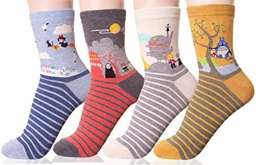DearMy Womens Famous Cartoon Japanese Animation Print Cotton Blend Crew Socks (Ghibli 4 Pairs)