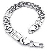 KONOV Mens Stainless Steel Bracelet, Cross Links, Silver