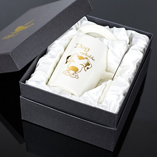 Znzbzt Creative Ceramic Cup zodiac Mark Cup with spoon gift box Cup personalized coffee cup milk cup, dog