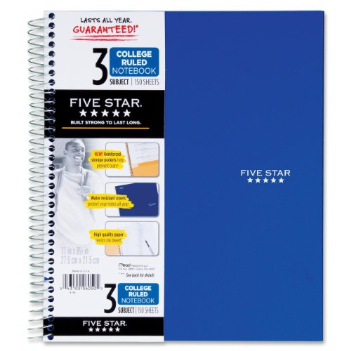 043100060505 - Mead 5 Star Notebook, 3 Subject College Ruled carousel main 0