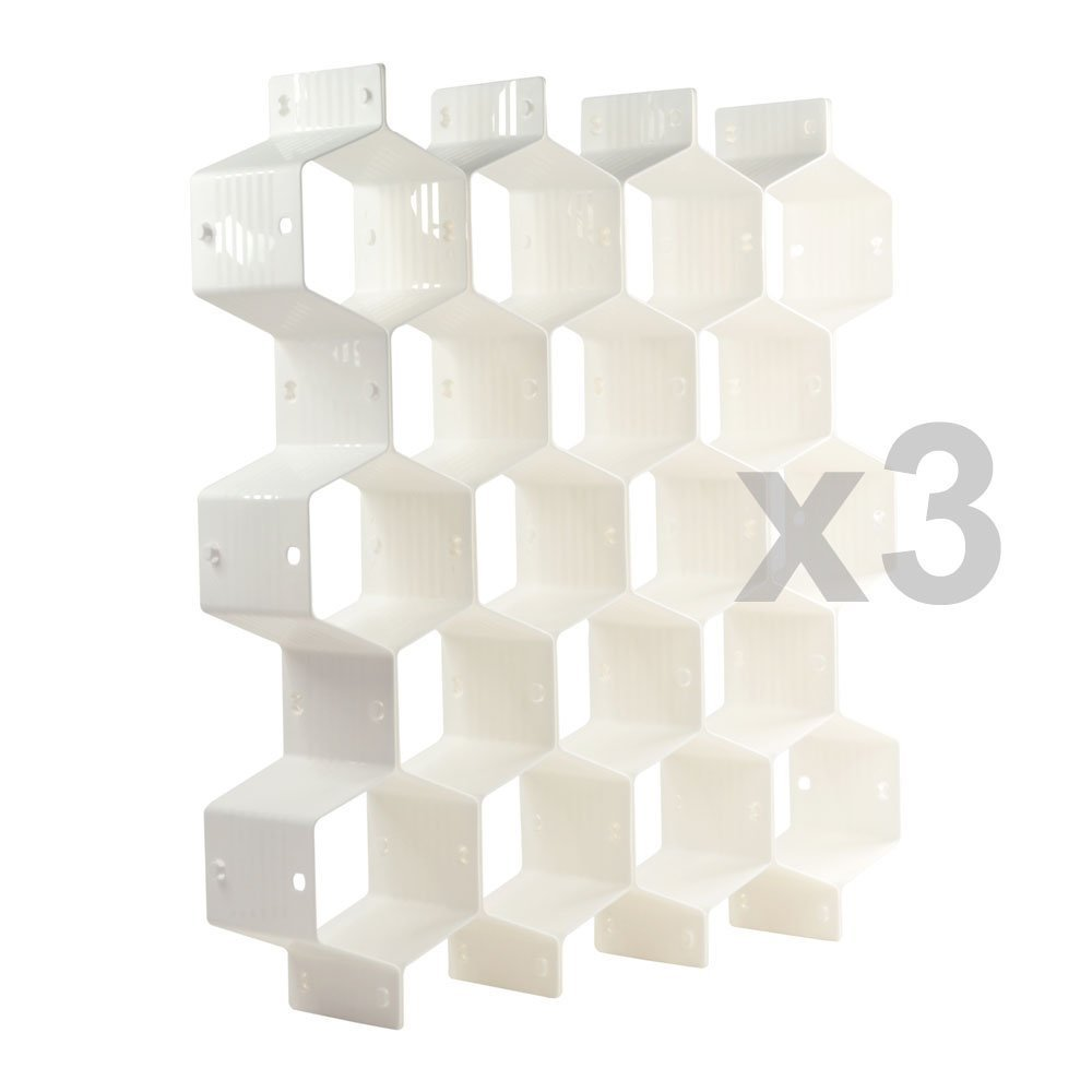 Xin store White Honeycomb Drawer Organizers Dividers for Underwear Socks Bras Ties Belts Scarves, 3 set x Cabinet Clapboard (included 24 pieces)