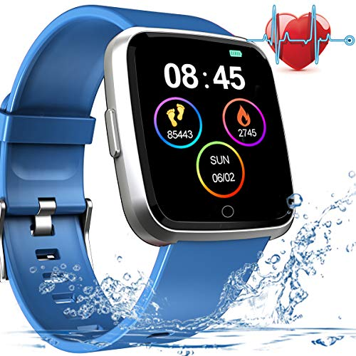 New Version Fitness Tracker with Blood Pressure Monitor Heart Rate Monitor, Life Waterproof Smart Watch with 7 Sports Mode, Sleep Monitor, Calorie Counter, Pedometer Smart Wrist Band for Women Men
