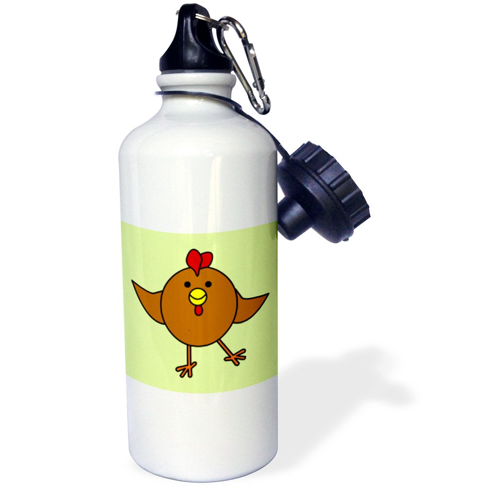 3dRose wb_10793_1 Cute Brown Chicken Dance with Green Background - Sports Water Bottle, 21 oz, White