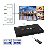 J-Tech Digital HDMI 4x1 1080P Quad Multi-Viewer Seamless Switcher with 5 Different Display Modes and IR Remote Control (JTECH-MV41)