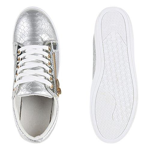 Stiefelparadies - Zapatillas Mujer Plateado y blanco