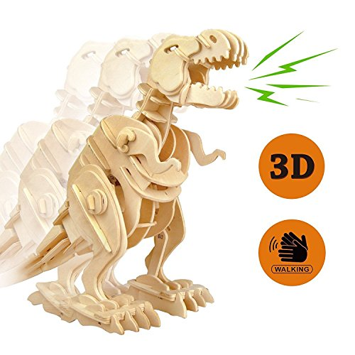 Sound Puzzle Kit (Lychee 3D Educational Gift Wooden Sound Control Dynamic Dinosaur Jigsaw Puzzle, DIY Assemble Dinosaur Robot Wood craft Toy Kit For Age 8+ Boy&Girls (Walking T-Rex))