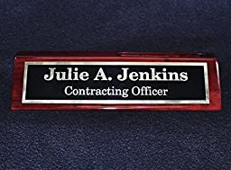 Desk Name Plate With Card Holder | Custom Name Plate | Free Engraving