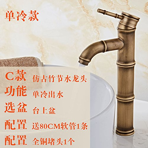 14 LHbox Basin Mixer Tap Bathroom Sink Faucet BlackAntique cold and hot-tub above antique faucet full copper antique wash basins with high bamboo-C1 single cold tap.