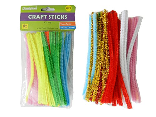 60PC Craft Sticks, 6''Long Solid Color & Glitter! , Case of 96 by DollarItemDirect