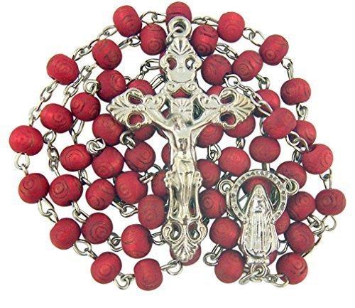 Rose Scented, Carved Wood Rose Petal Rosary