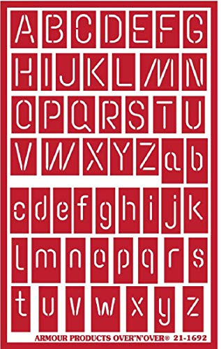 ARMOR OVER N OVER 재사용 가능한 유리 에칭 스텐실 ONO 네온 알파벳 크기는 대략적인 것입니다. 폭 X 높이 좁은 편지-1   16. 넓은 넓은 편지-.75 .모든 대문자-.7