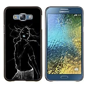 KLONGSHOP // Cubierta de piel con cierre a presión Shell trasero duro de goma Protección Caso - mujer sexy negro labios eléctricas verde menta - Samsung Galaxy E7 E700 //