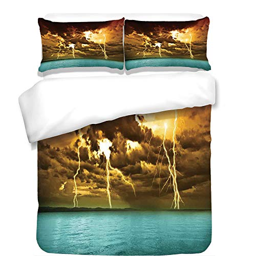 iPrint 3Pcs Duvet Cover Set,Nature,Flash Storm Over The Lake with Large Rain Clouds Miracle Solar Illumination Photo,Blue Yellow,Best Bedding Gifts for Family/Friends by iPrint