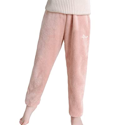 Swtddy Winter Warm Girls Loose Super Cozy Velvet Fleece Pajama Bottom Lounge Pants at Women's Clothing store