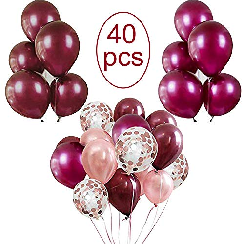 Vodolo 12'' Burgundy Balloons Latex Balloon and Rose Gold Confetti Balloons 40 pcs for Baby Shower Wedding Birthday Party Decorations, 2 Gold Ribbons...