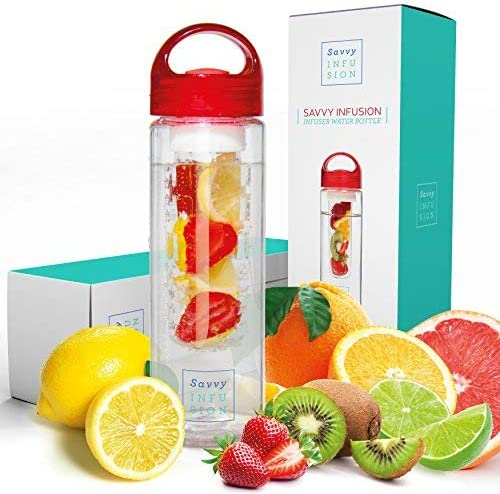 This is an image of an infusion tumbler with fruits around it.