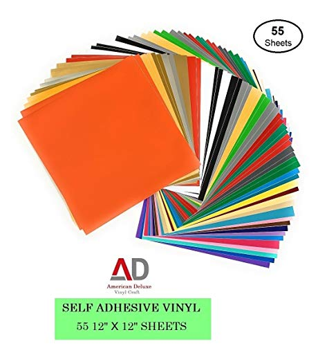 """Permanent Adhesive Vinyl Sheets for Cricut - 55 Pack, 12""""x12"""" Assorted Colors, by AD American Deluxe Vinyl Craft, Premium Vinyl Bundle for Silhouette Cameo Machines, Craft Cutter, Decals, Signs, Car"""