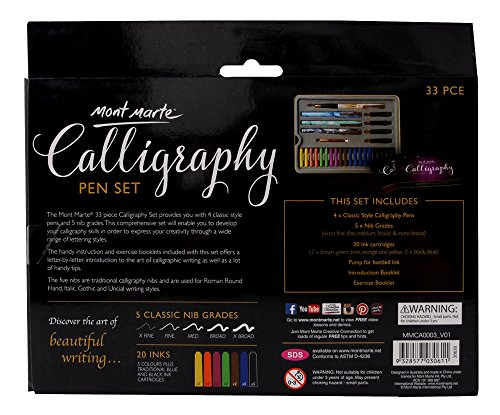 Mont Marte Calligraphy Set, 33 Piece. Includes Calligraphy Pens, Calligraphy Nibs, Ink Cartridges, Introduction Booklet and Exercise Booklet. by Mont Marte (Image #6)