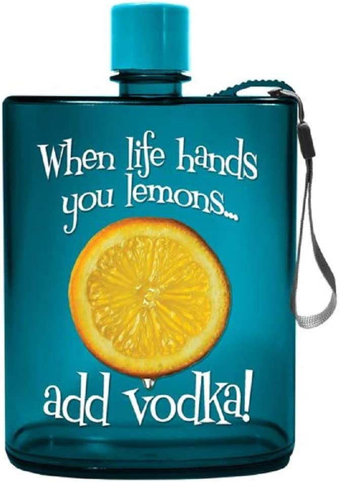12 ounces Spoontiques Lemons Acrylic Flask Teal