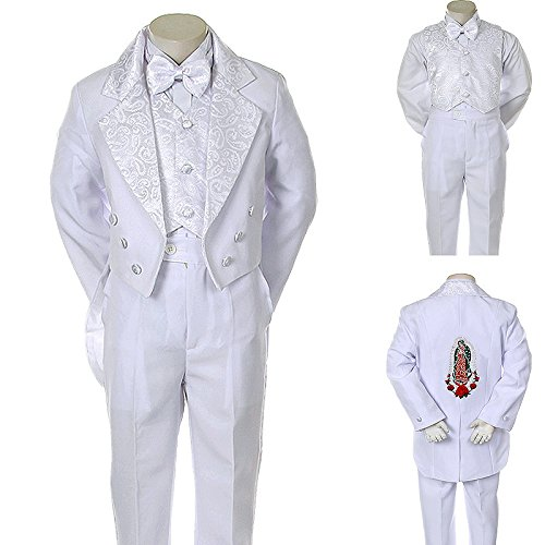 Unotux Boys Christening Baptism Suits Tuxedo White Tail Maria Virgin Mary S-14 (10) -