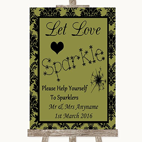 Olive Green Damask Let Love Sparkle Sparkler Send Off Personalized Wedding Sign