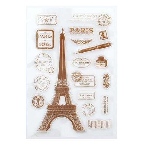 Clear Stamps Small Tag (Peyan Eiffel Tower Clear Stamp for DIY Scrapbooking Decor Card Making Crafts Supplies Rubber Silicone for Transparent Rubber Seals Photo Album Wish Decoration)