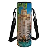 Water Bottle Sleeve Neoprene Bottle Cover,Italy,Fountain Di Trevi Famous Travel Destination Tourist Attraction European Landmark,Multicolor,Fit for Most of Water Bottles