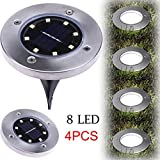 Nesix Solar Light, 4Pcs 8LED Solar Lights Outdoor Ground Lights, Waterproof Path Garden Landscape Lighting for Yard Garden Driveway Lawn Pathway Decking White (Black)