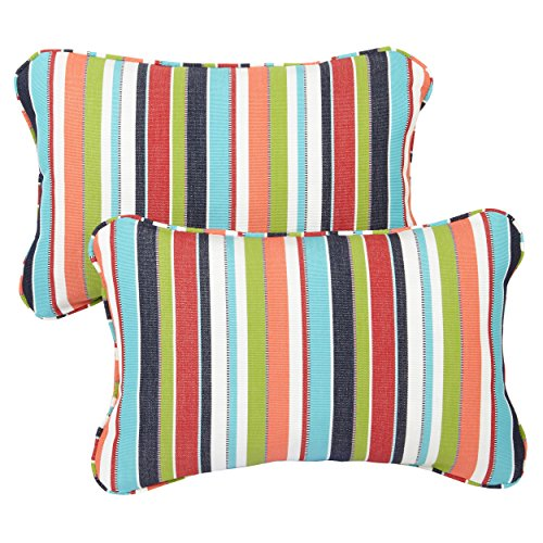 (Multicolor Stripe Corded 13 X 20 Inch Indoor/ Outdoor Pillows with Sunbrella Fabric (Set of 2))