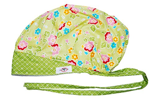 Nursing Scrub Hats (MedCap Scrub Hat Bouffant Scrub Cap with Ties Ponytail Pink Posy Lime)