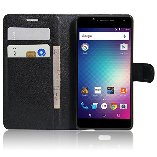 BLU VIVO Xi+ Case with Screen Protector, ZLDECO Elegant Lich Grain PU Leather Flip Pouch Stand Function Shell Cover Skin with Magnetic Wallet Design Protective for BLU VIVO Xi Plus (6.2) (Black)