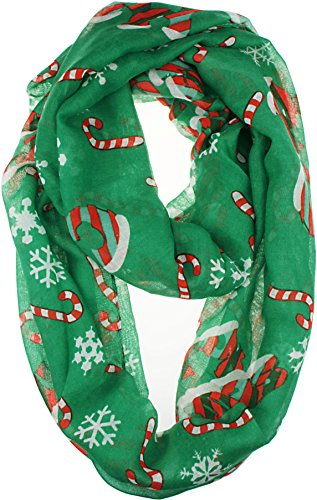 VIVIAN & VINCENT Soft Light Elegant Merry Christmas Sheer Infinity Scarf (Snowflake & Candy Cane) ()
