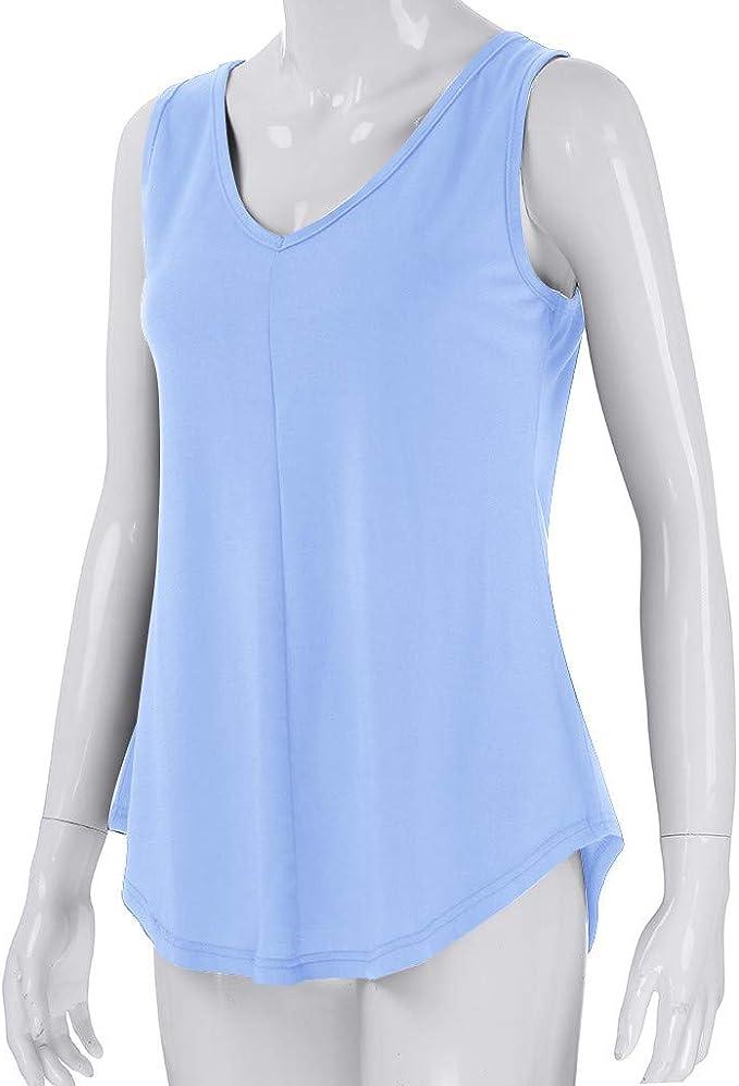 yoyorule Women Casual Shirt Plus Size Summer Women Casual Tank Top Regular Fit Pure Color V-Neck Sleeveless