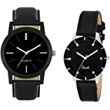 RPS FASHION WITH DEVICE OF R Men's Analogue Black Dial Logo Watch for Couple -Combo of 2
