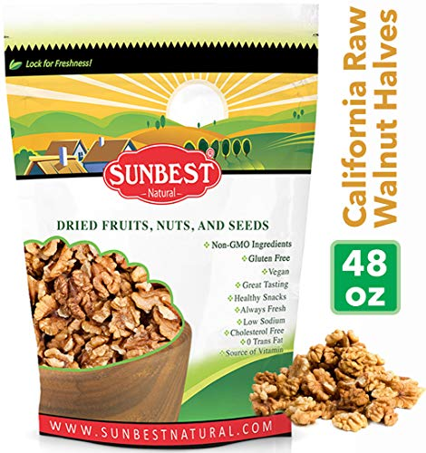 SUNBEST Natural Shelled Raw California Walnuts in Resealable Bag ... (3 -
