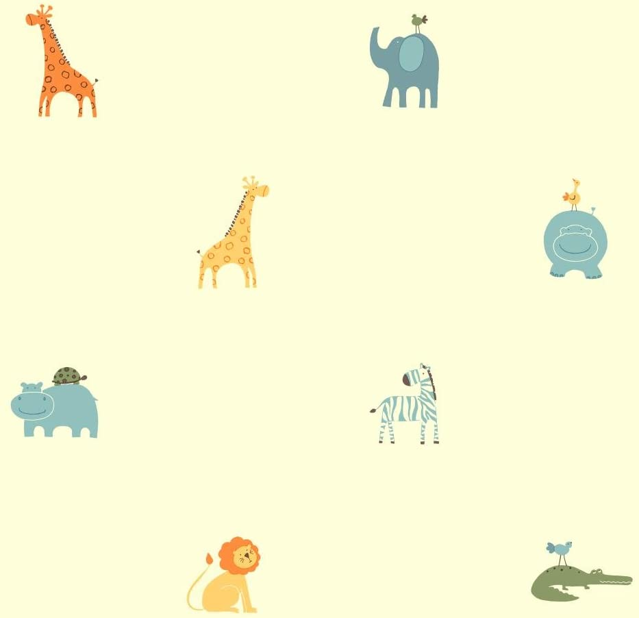 York Wallcoverings ZB3211SMP Boys Will Be Boys II A Day At The Zoo 8-Inch x 10-Inch Memo Sample Wallpaper Warm Cream//Soft Sage//Dusty Blue//Soft Orange